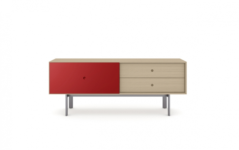 Margo 5229 Media Console in Drift Oak with Cayenne accent