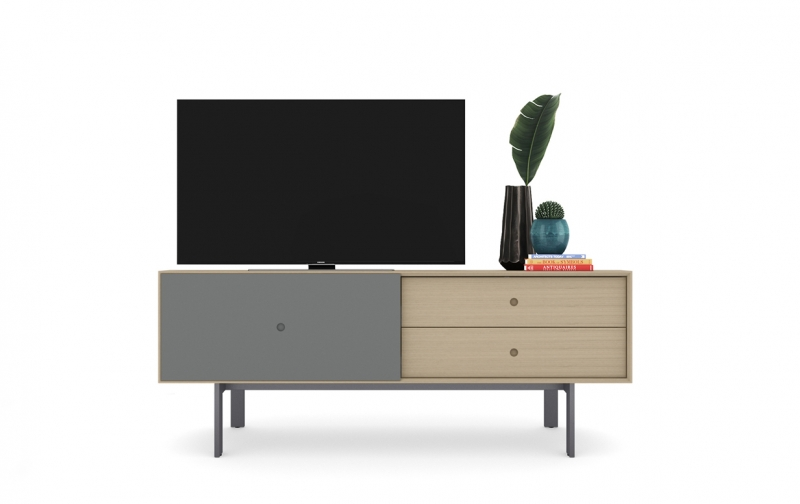 Margo 5229 Media Console in Drift Oak with Fog accent