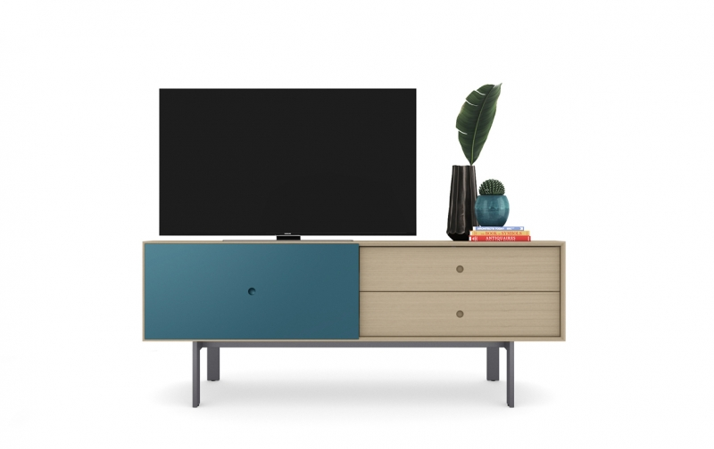 Margo 5229 Media Console in Drift Oak with Marine accent
