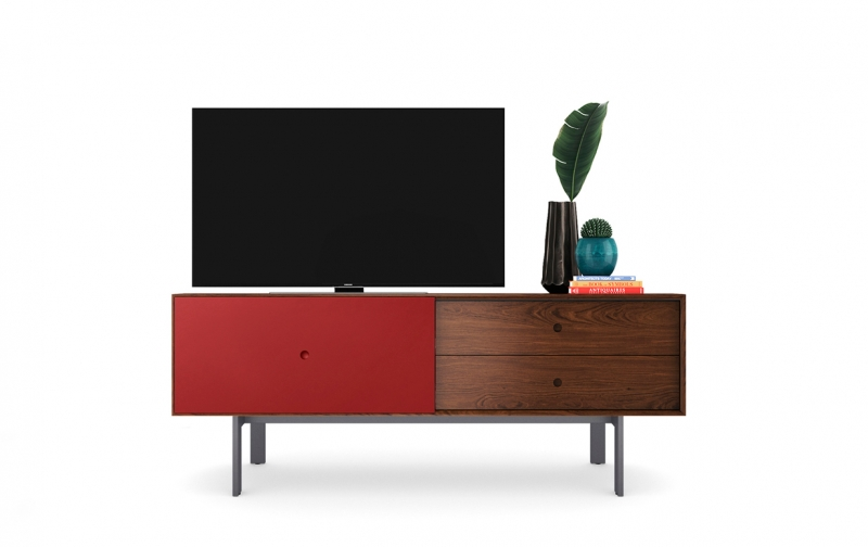 Margo 5229 Media Console in Toasted Walnut with Cayenne accent