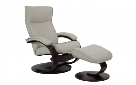 Senator C Recliner & Ottoman in SL 205 Shadow Grey with Espresso Frame