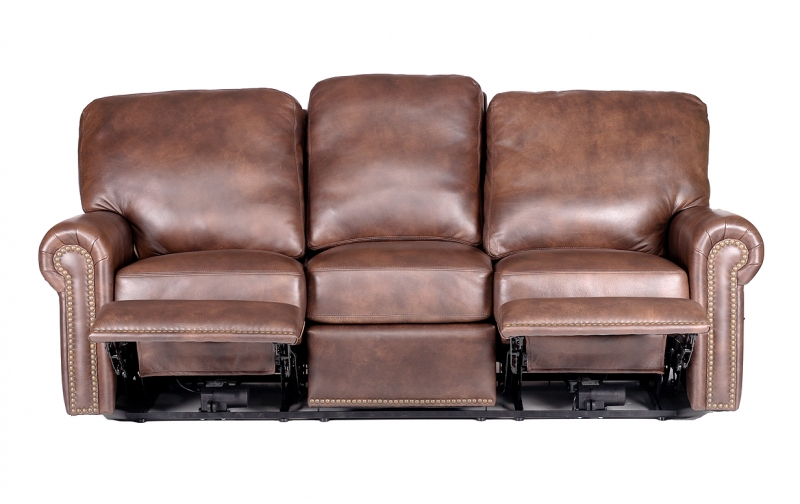 Fairfield Leather Power Reclining Sofa With Reclined Seats