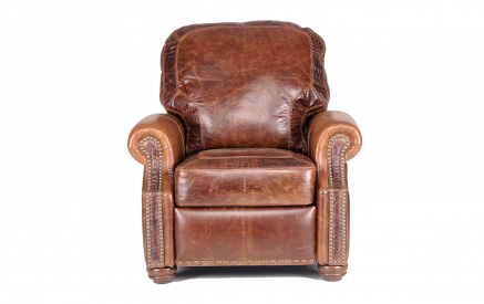 Riverton Leather Push Back Recliner in Brompton Chocolate with optional Satin Croc accents