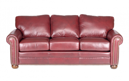 Savannah Leather Sofa in Guanaco Sangria